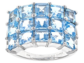Swiss Blue Topaz Sterling Silver Ring 5.10ctw