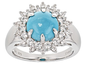 Blue Sleeping Beauty Turquoise Sterling Silver Ring .83ctw