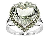 Green Brazilian Prasioite Sterling Silver Heart Ring 8.08ctw