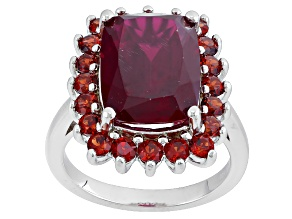 Red Lab Created Ruby Sterling Silver Ring 7.15ctw