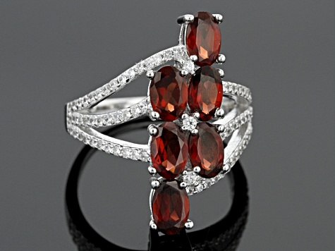 Red Garnet Sterling Silver Ring 3.45ctw