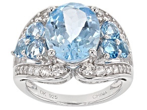 Sky Blue Topaz Sterling Silver Ring 7.62ctw