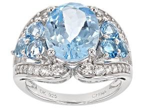 Sky Blue Topaz Sterling Silver Ring 7.62ctw
