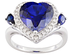 Blue Lab Created Sapphire Sterling Silver Heart Ring 4.98ctw