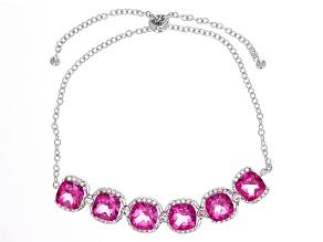 Pink Topaz Sterling Silver Sliding Adjustable Bracelet 9.46ctw