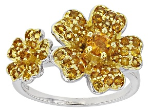 Yellow Citrine Sterling Silver Flower Ring 1.55ctw