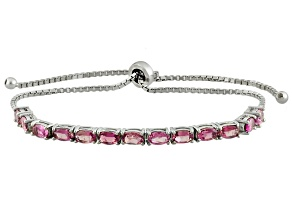 Pink Tourmaline Sterling Silver Sliding Adjustable Bracelet 2.99ctw