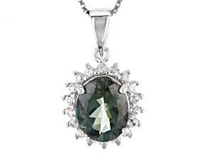 Green Labradorite Sterling Silver Pendant With Chain 2.47ctw