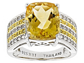 Yellow Brazilian Citrine Sterling Silver Ring 5.71ctw