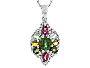 Multi-Tourmaline Sterling Silver Pendant With Chain 2.69ctw