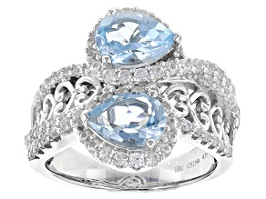 Sky Blue Topaz Sterling Silver Ring 3.47ctw