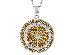 Yellow Citrine Sterling Silver Pendant With Chain 1.35ctw