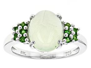 Green Prehnite Sterling Silver Ring .15ctw