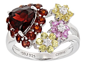 Red Garnet Sterling Silver Heart Ring 3.78ctw