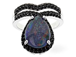 Australian Opal Triplet Sterling Silver Ring .95ctw