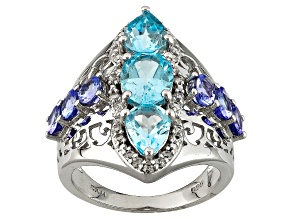 Sky Blue Topaz Sterling Silver Ring 4.30ctw