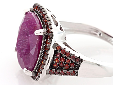 Red indian Ruby Sterling Silver Ring 8.35ctw