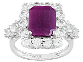 Red india Ruby Sterling Silver Ring 5.79ctw