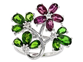Purple Rhodolite Sterling Silver Floral Ring 3.34ctw