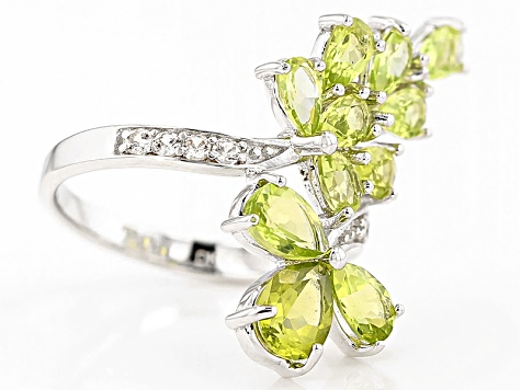 Green Peridot Sterling Silver Bypass Ring 3.02ctw