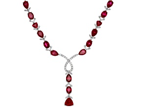 Red Lab Created Ruby Sterling Silver Necklace  53.85ctw