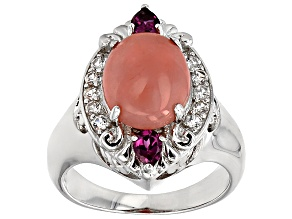 Pink Peruvian Opal Sterling Silver Ring .62ctw