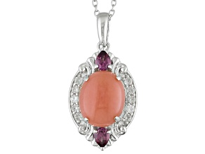 Pink Peruvian Opal Sterling Silver Pendant With Chain .62ctw