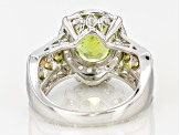 Green Peridot Two-Tone Sterling Silver Ring 2.81ctw