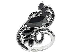 Black Spinel Sterling Silver Ring 5.26ctw