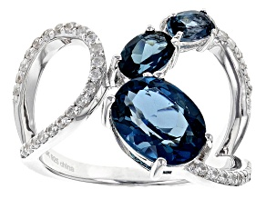 London Blue Topaz Sterling Silver Ring 2.90ctw