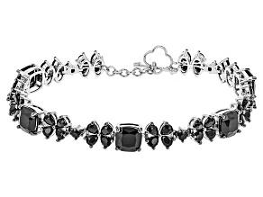 Black Spinel Sterling Silver Bracelet 21.35ctw