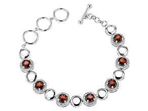 Red Garnet Sterling Silver Bracelet 10.21ctw