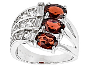 Red Garnet Sterling Silver Ring 4.34ctw