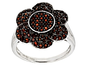 Red Garnet Sterling Silver Ring 1.29ctw