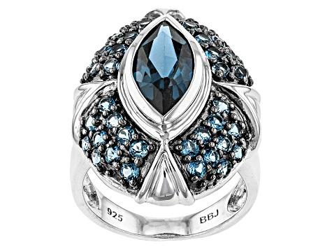 London Blue Topaz Sterling Silver Ring 4.37ctw