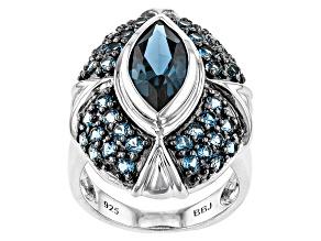 London Blue Topaz Sterling Silver Ring 4.37ctw