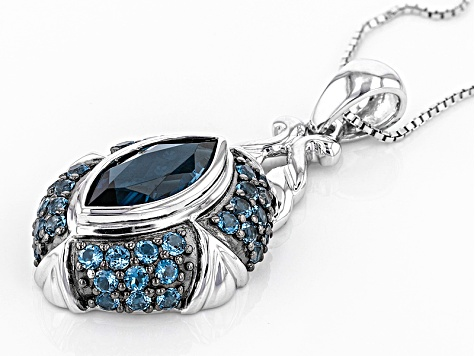 London Blue Topaz Sterling Silver Pendant With Chain 4.37ctw