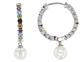 White Cultured Freshwater Pearl Sterling Silver Hoop Earrings 1.99ctw