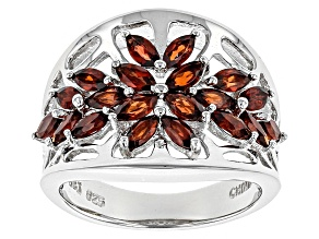 Red Garnet Sterling Silver Ring 1.70ctw