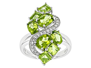 Green Peridot Sterling Silver Ring 3.59ctw