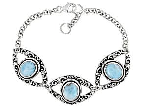 Blue Larimar Sterling Silver Bracelet