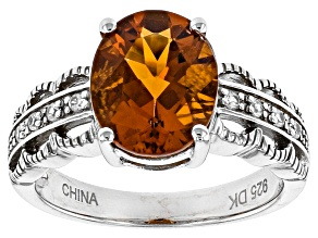 Orange Madeira Citrine Sterling Silver Ring 1.77ctw