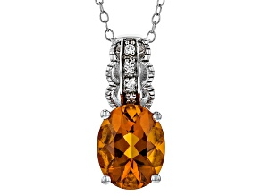 Orange Madeira Citrine Sterling Silver Pendant With Chain 2.05ctw
