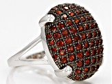Red Garnet Sterling Silver Ring 3.16ctw