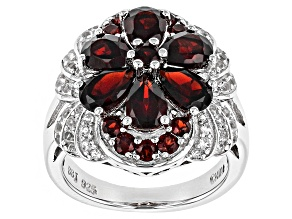 Red Garnet Sterling Silver Floral Ring 4.02ctw