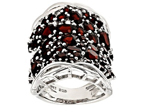 Red Garnet Sterling Silver Ring 6.37ctw