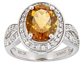 Orange Madeira Citrine Sterling Silver Ring 2.72ctw