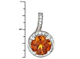 Orange Madeira Citrine Sterling Silver Pendant With Chain 1.96ctw