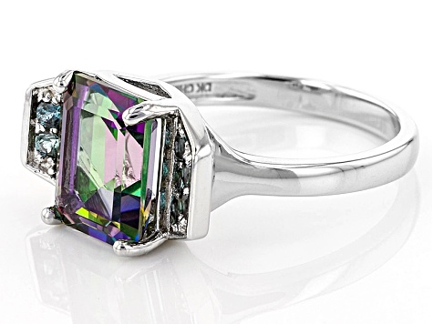 Green Multi-Color Topaz Sterling Silver Ring 3.62ctw