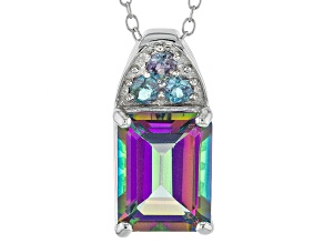 Multicolor Topaz Sterling Silver Pendant With Chain 3.49ctw
